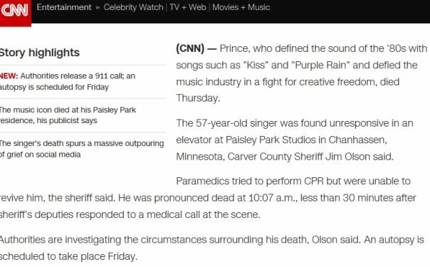 Prince Died 4 2016